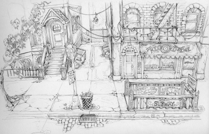Meteor City Mayhem - Street Concept Sketch