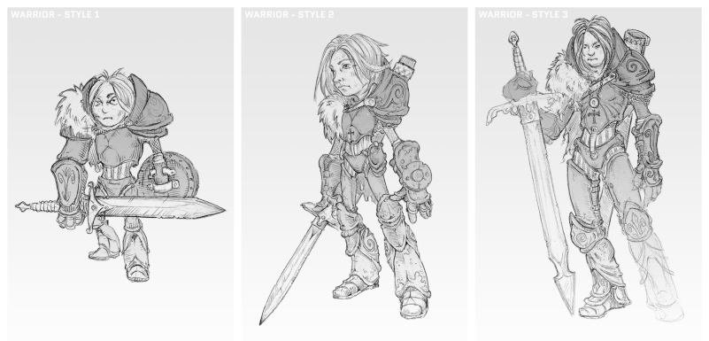 Three different styles for a warrior character concept